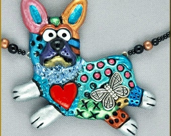 Hand Sculpted French Bulldog or Boston Terrier Necklace by Kristy Zgoda - critter craft