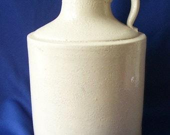 Antique White Pottery Moonshine Whiskey Jug, Salt Glazed Jug, Farm House Jug, Primitive Farm Kitchen ,Country cottage