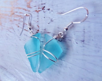 Frozen Style Icicle Sea Glass Earrings Little triangles 1
