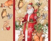 Old World Santa Forest Animals Christmas Springs Creative Cotton Fabric Panel