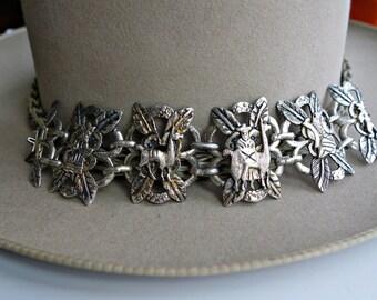 Vintage Peru Silver Linked Bracelet Wide