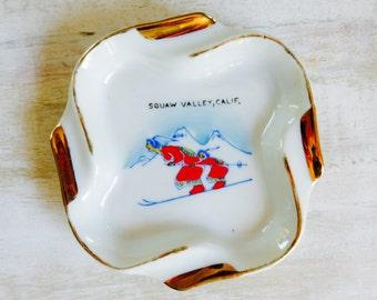 VIntage Porcelain Souvenir Ashtray Squaw Valley California