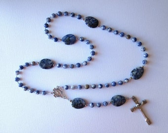 Blue and White Catholic Rosary of Sodalite, with Miraculous Medal Center and Risen Christ Curcifix