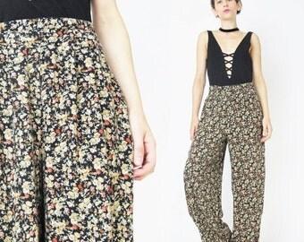 90s Comfy Floral Print Pants Loose Slouchy Pants Comfy Elastic Waist Pants Lounge House Yoga Pants Ditsy Floral Boho Harem Pants (S/M)