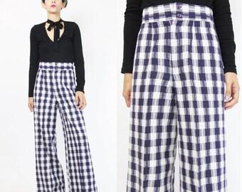 1970s Plaid Pants High Waist Wide Leg Pants 70s Bell Bottoms Checkered Plaid Trousers Purple Pants 1970s Disco Womens Palazzo Pants (XS)