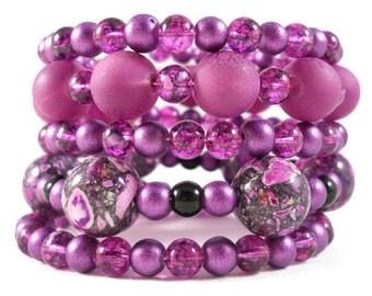 Purple Bracelet Set, Stacked Bracelets, Arm Candy, Beaded Bracelet, Plum Jewelry, Stone Bracelet, Memory Wire Coil Bracelet Bohemian Jewelry