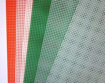 """Six Sheets 7 count Plastic Canvas, 10-1/2""""x13-1/2"""" - Orange, White, Green, Clear"""