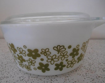 flowers in olive green...vintage pyrex casserole dish with lid
