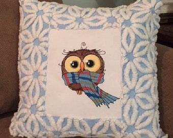 Whimsical  Embroidered Owl Pillow with Hofmann Daisy Vintage Chenille One of a Kind