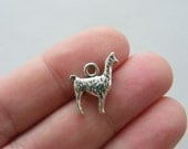 6 Llama charms antique silver tone A99