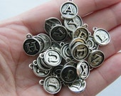 26 Letter charms antique silver tone