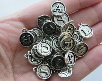 26 Letter whole alphabet charms antique silver tone