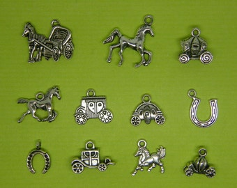 The Horse and Carriage Collection - 11 different antique silver tone charms