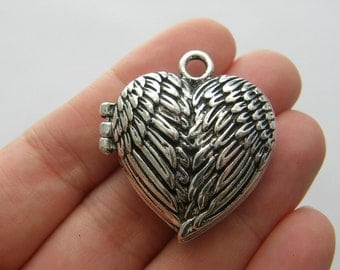 1 Angel wing locket antique silver tone AW89