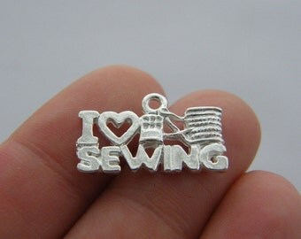 BULK 50 I love sewing pendants antique silver tone SN63 SALE 50% OFF