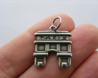 BULK 5 Paris Arc de Triomphe charms dark silver tone WT201