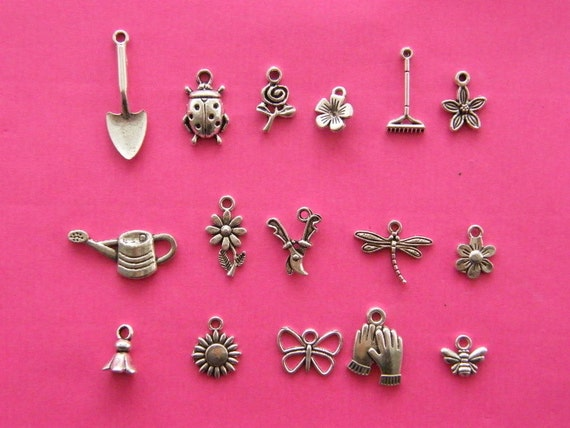 My Garden Collection - 16 different antique silver tone charms