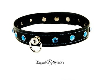 BDSM Black Leather Kitty Slave Collar with Ruby Blue Crystals Studded - Fetish Submissive Collar - Bell Kitten Play Day BDSM Sub DDlg Collar