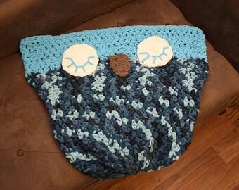 Crochet Owl Car Seat Blanket - Ready To Ship - DESTASH SALE