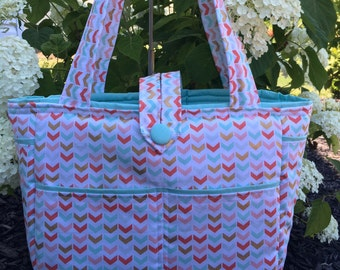 Large Bag- Diaper Bag- Work Bag- School Bag- Travel Bag, with coral, teal and gold broken chevron