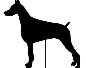 Doberman Pinscher Garden Stake or Wall Hanging / Memorial / Garden Art / Rusty / Shadow / Cut Out / Metal