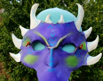 Amethyst Jade Horned Dragon Leather Mask