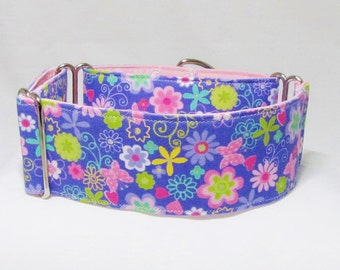 "2"" Martingale Collar, Purple Flowers Butterfly Martingale, Whippet Iggys Designs Greyhound Collar 3/4"" 1"" 1.5""Martingale, 2""Martingale"