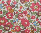 Liberty tana lawn printed in Japan - Betsy -  Coral pink khaki mix