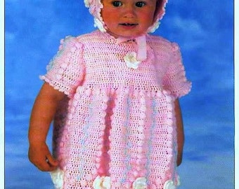 CROCHET PATTERN - Dress and Bonnet  -Birth to 12 mos and 1 to 2 years
