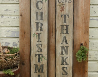 DOUBLE SIDED Give Thanks/Season's Greetings/Merry Christmas Wooden Sign