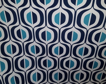 Navy BLUE Deep TURQUOISE  on White-  GEOMETRIC Outdoor fabric, 36-05-04-0316
