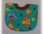 Baby Bib Fleece Bear Dog Print Pullover Bib for baby through toddler years