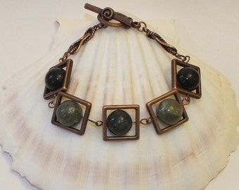 Antiqued Copper Bracelet With Moss Agate Beads And Square Copper Frames