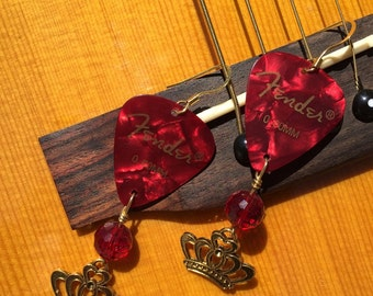 Red Guitar Pick Earring with Crown Charm