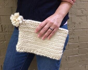 Clutch - Cream Herringbone Knit Clutch with Tassel