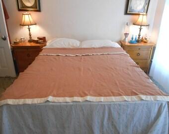 """Vintage Wool Bed Blanket/Peru Color Wool Blanket/Medium Weight Wool Blanket/Size 58"""" by 75""""/40's-50's Era"""
