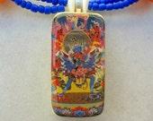 SALE - 50% off, Tibetan God & Consort - Yab Yum (Father Mother), Domino Pendant, Glass, Tibetan Amber Resin,Erotic Necklace by SandraDesigns