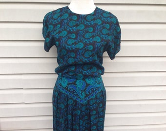 Aqua Black Paisley Dress