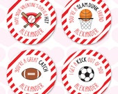 Valentine's Day Stickers - Sports - Sheet of 12 or 24
