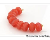 NEW! Strawberry Lemonade Pink Glass Lampwork Beads Spacer Handmade - The Spacer Bead Shop