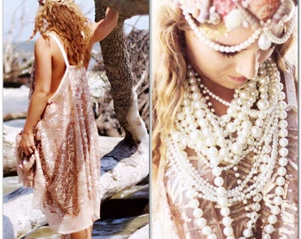 Plus Rose Gold Sequin Dress, Bohemian Dress, Gypsy Soul Sundress, Boho Dress, Bridal Beach, Shabby Cottage Chic Dresses, True Rebel Clothing