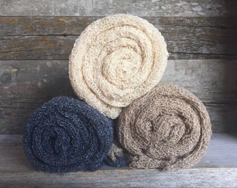 Set of 3 STRETCH WRAPS -- newborn Photo props-- soft n cuddly FALL Colors
