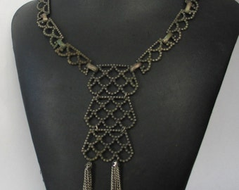 Vintage  Oxidized Silver Tone and  Recycled ? Necklace