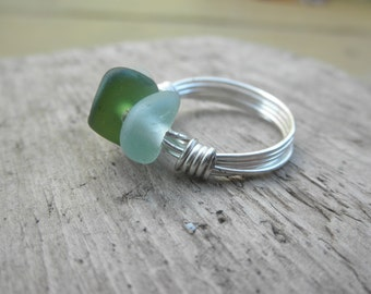 Sunset Lake Erie Beach Glass Ring size 9 sterling silver