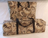Silhouette Cameo Carrying Case / Combo Set / Black and Khaki Paisley Fabric / Laptop Accessory Bag /  Cricut Expression Tote