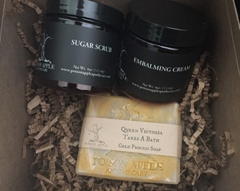 Bath Gift Set, Sugar Scrub, Cream and Soap, For Her