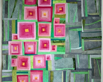 Art quilt, abstract quilt, contemporrary quilt, wall hanging, wall decor- Sakura.