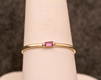 Natural Rhodolite Garnet Straight Baguette Cut 14kt Gold Stacking Ring & January birthstone, 2nd Anniversary Gift