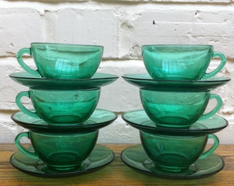 Vintage French Arcoroc Green Glaas Teacups & Saucers Set of 6