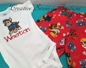 Paw Patrol boys outfit, Paw Patrol outfit, Paw Patrol Marshall embroidered with choice of name and size up to 5T Boys clothes